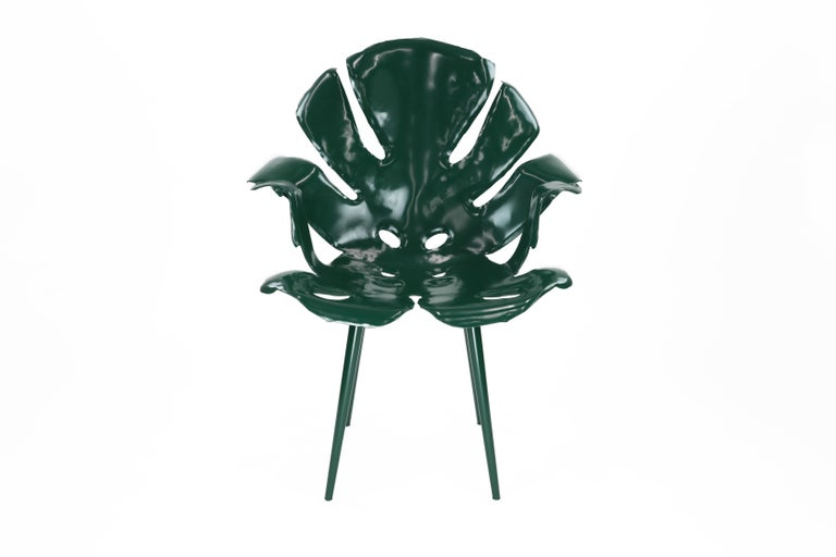 The Philodendron Dining Chair in Powder-Coated Brass by Christopher Kreiling For Sale 1