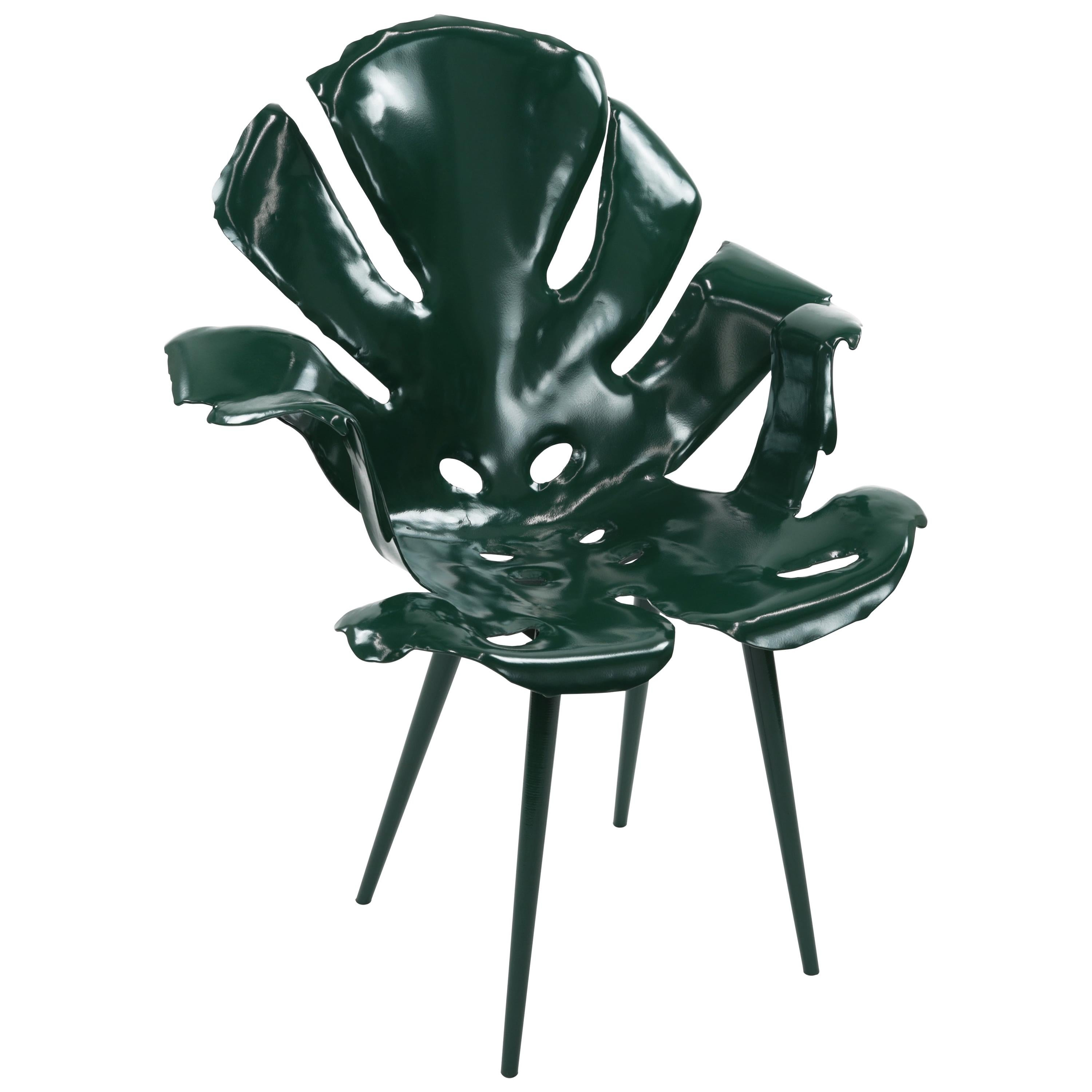 The Philodendron Dining Chair in Powder-Coated Brass by Christopher Kreiling