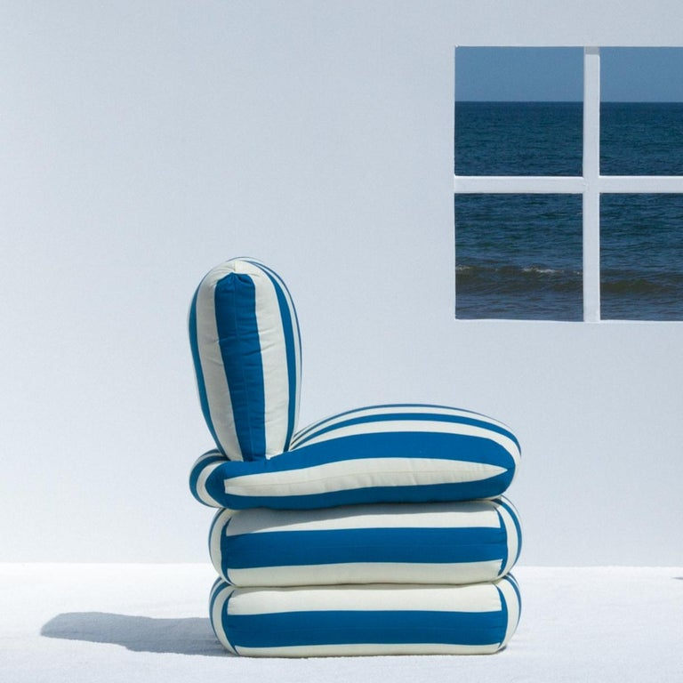The Pillow Chair, Blue In New Condition For Sale In Brooklyn, NY
