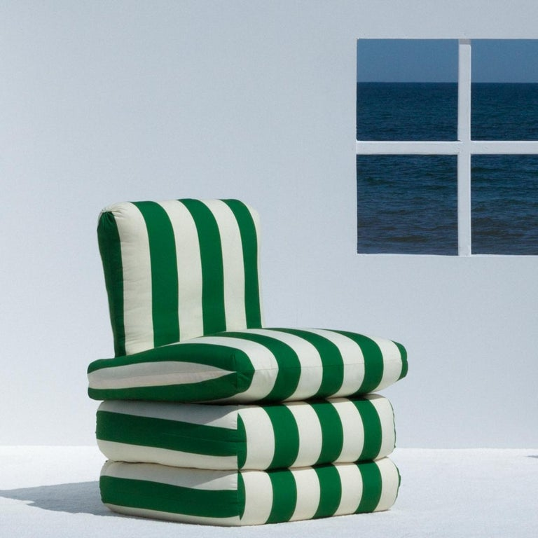 Inspired by the relaxed glamour of the 1960s Italian Riviera, our new Pillow chair physically embodies the longing for lazy summer days with a comfortable, fully upholstered chair in colorful and Classic stripes.  The upholstered shape brings to