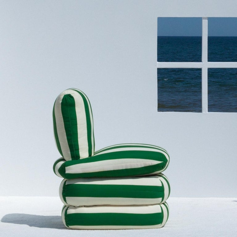 Contemporary Pillow Chair, Green For Sale