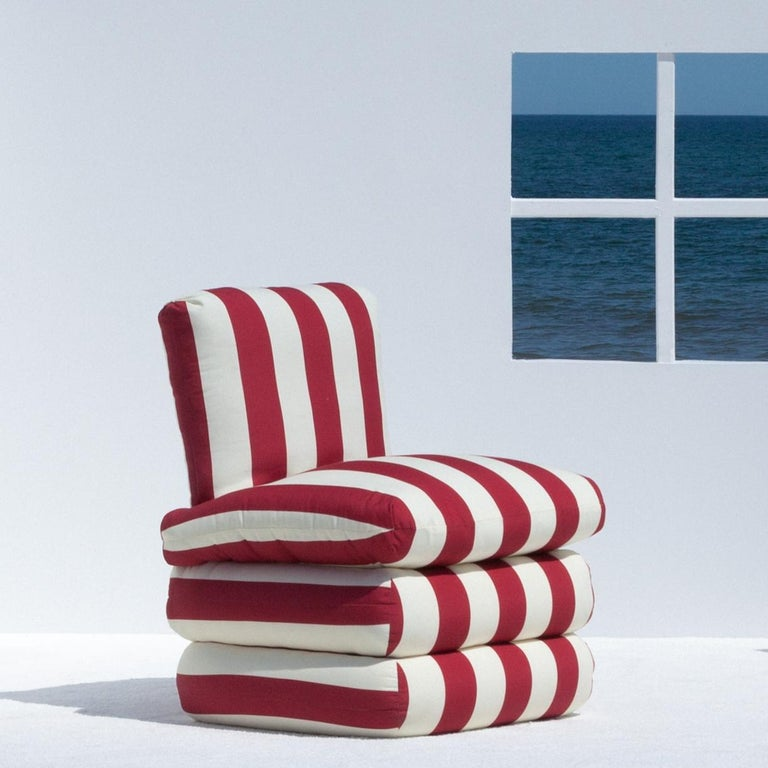 Inspired by the relaxed glamour of the 1960s Italian Riviera, our new Pillow chair physically embodies the longing for lazy summer days with a comfortable, fully upholstered chair in colorful and classic stripes. 