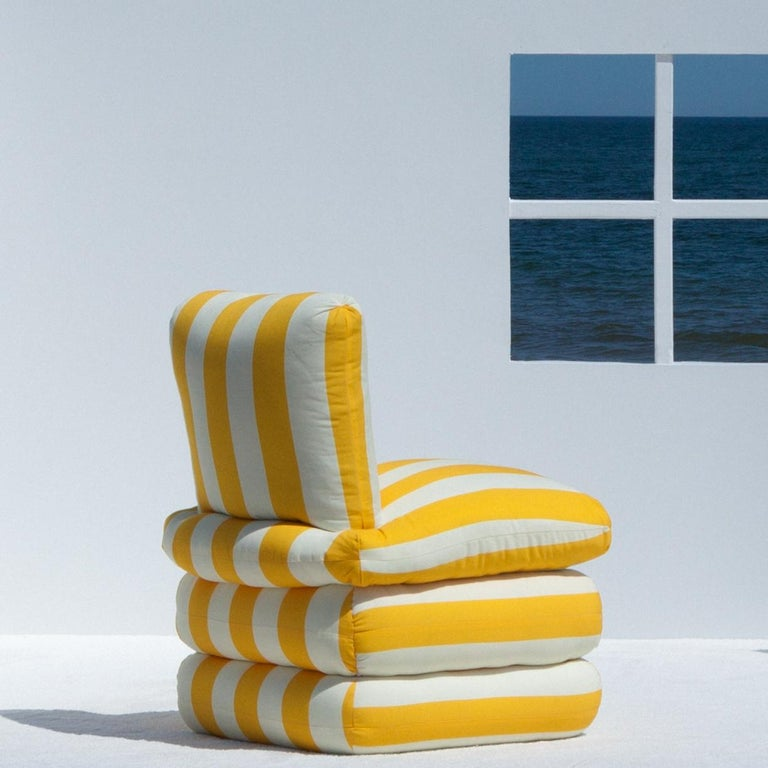 Contemporary Pillow Chair, Yellow  For Sale