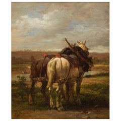 "Antique Barbizon Painting ""The Plow Horses"" by Emile Jacque"