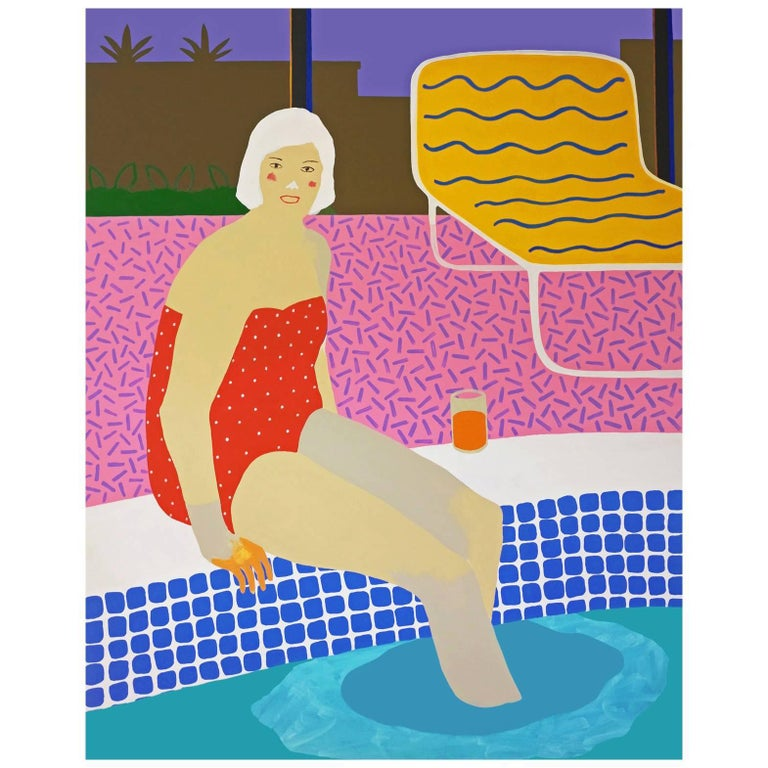 'the Plunge' Figurative Portrait Painting by Alan Fears Pop Art Pool For Sale