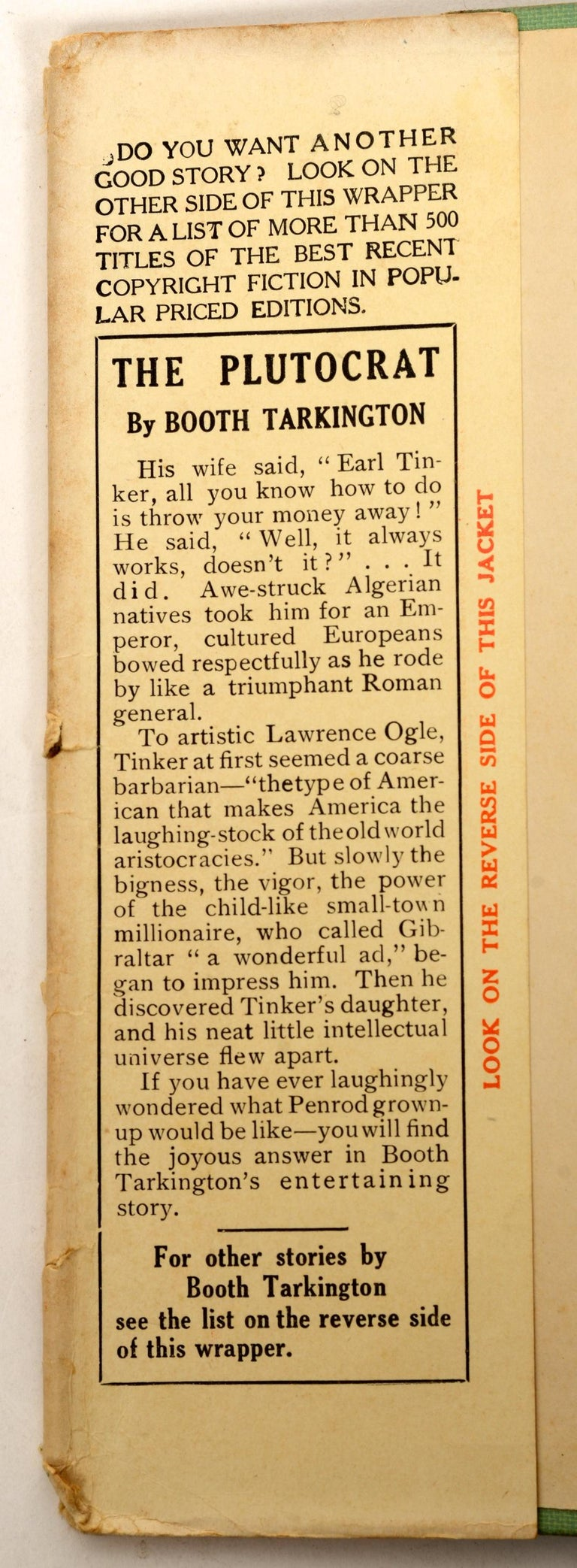 The Plutocrat by Booth Tarkington, First Edition In Fair Condition For Sale In valatie, NY
