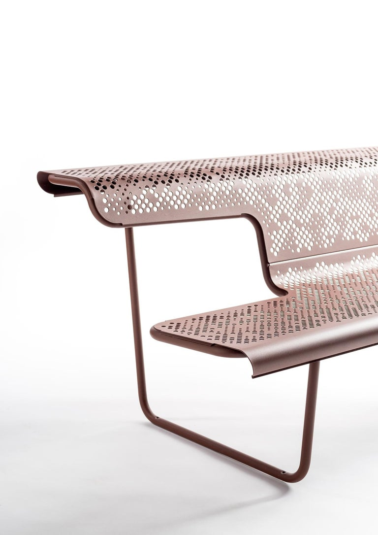 Modern Public bench in perforated steel designed by Alfredo Häberli For Sale
