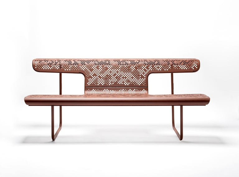 Spanish Public bench in perforated steel designed by Alfredo Häberli For Sale