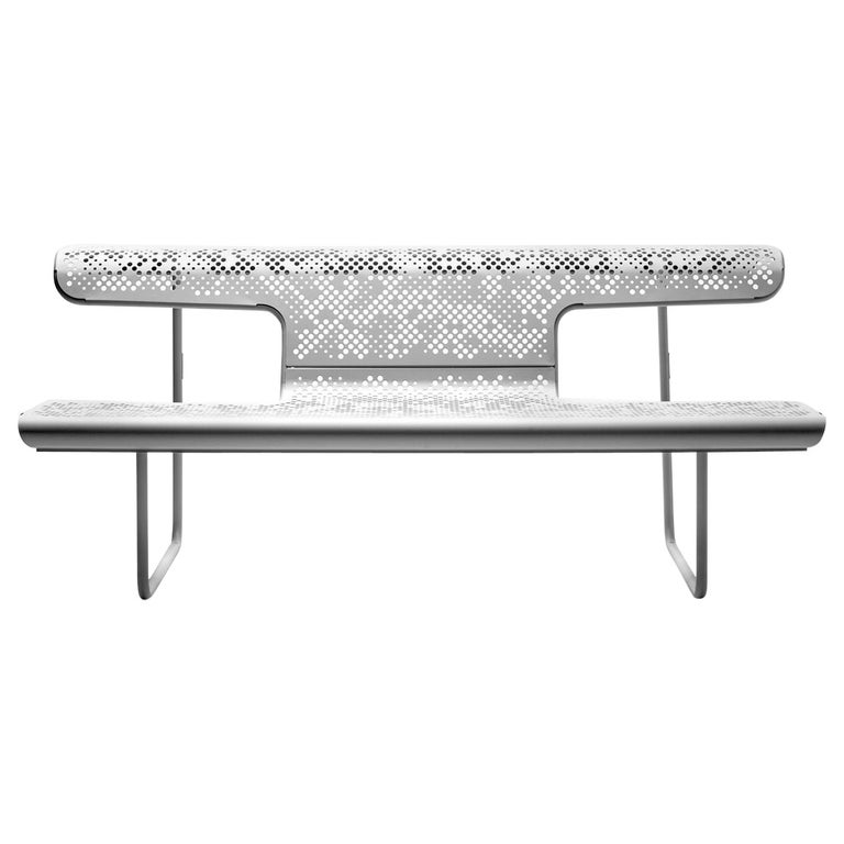 Public bench in perforated steel designed by Alfredo Häberli For Sale