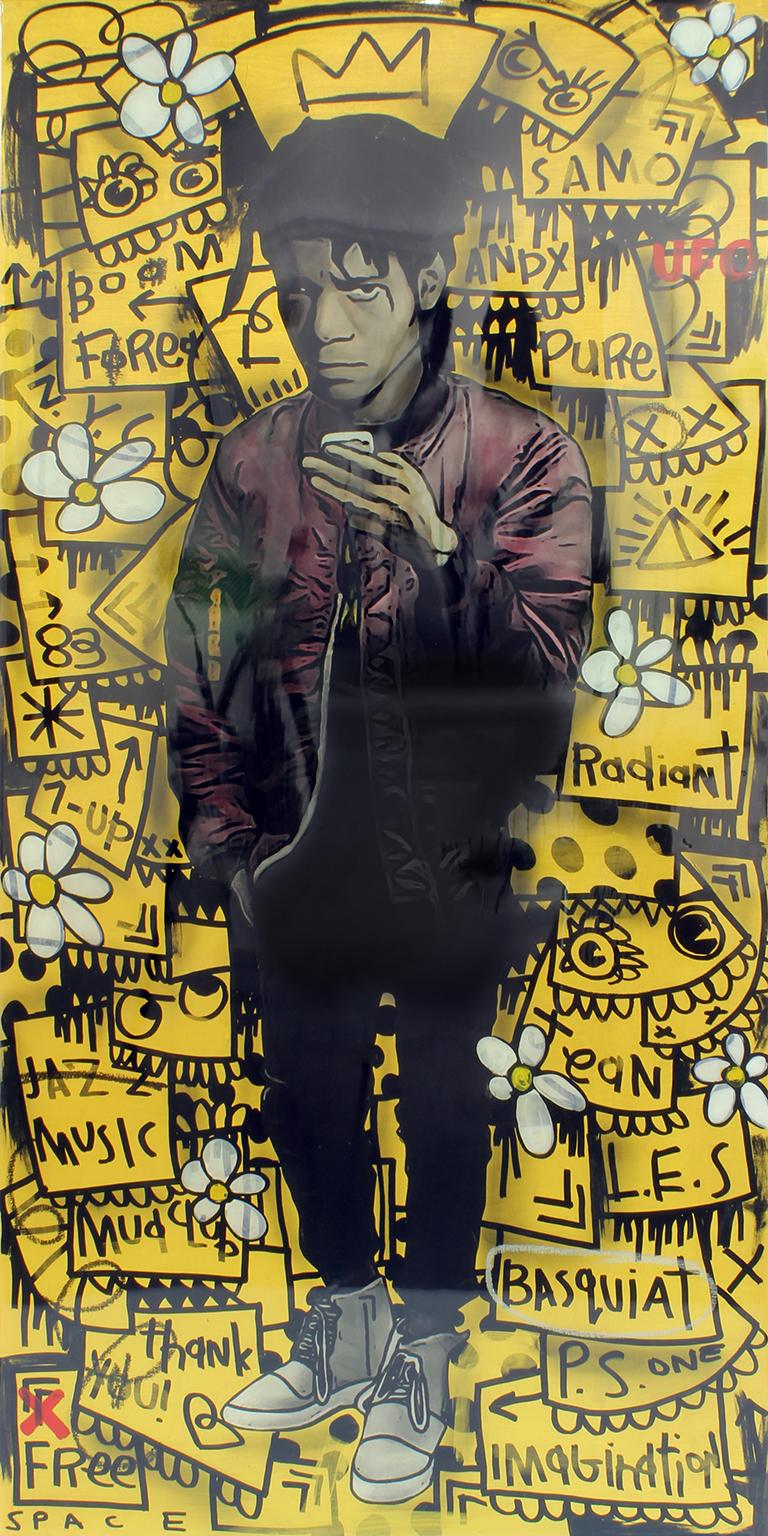 """""""Basquiat - Gold"""" acrylic and enamel on wood panel with resin wall sculpture"""