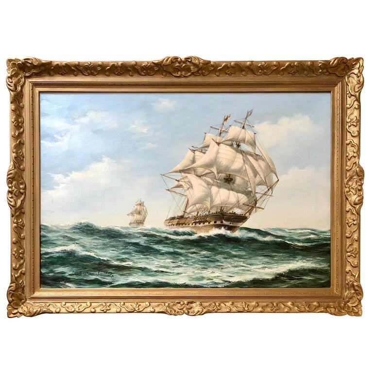 """""""The Pursuit, Man-O-War Ship at High Seas"""" by John Bentham-Dinsdale For Sale"""