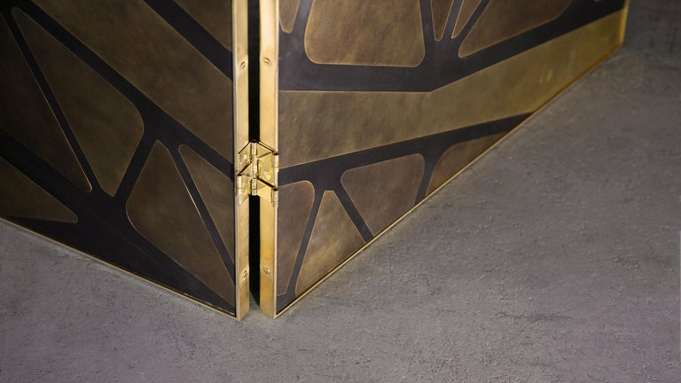 Art Deco The QE2 Metal Marquetry Screen in Hand Patinated Brass For Sale