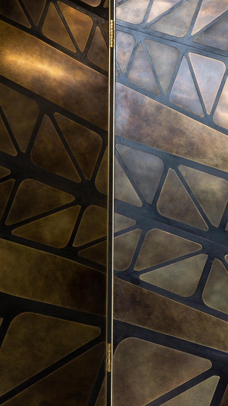Contemporary The QE2 Metal Marquetry Screen in Hand Patinated Brass For Sale