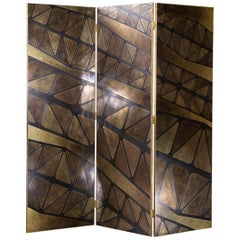 The QE2 Metal Marquetry Screen in Hand Patinated Brass