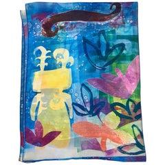 The Rains Came, Chiffon scarf by Melanie Yazzie Navajo sheer blue yellow purple