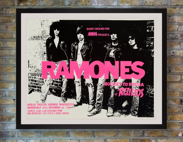 A rare silkscreen poster for a performance by the Ramones, with support from The Rezillos at the Apollo Theatre, Manchester on Wednesday 21 December, 1977, in support of their third studio album Rocket To Russia. Released on 4th November 1977,