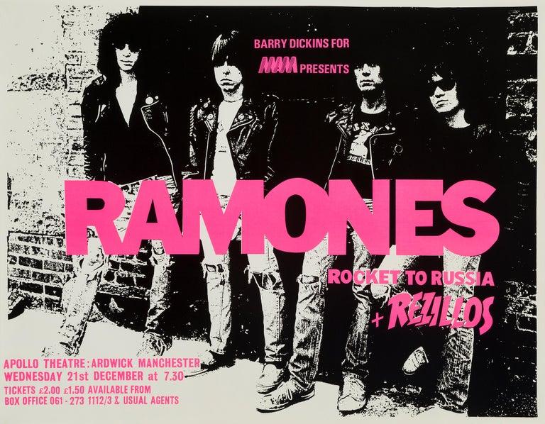 The Ramones Original Vintage Concert Poster, British, 1977 In Good Condition For Sale In Devon, GB