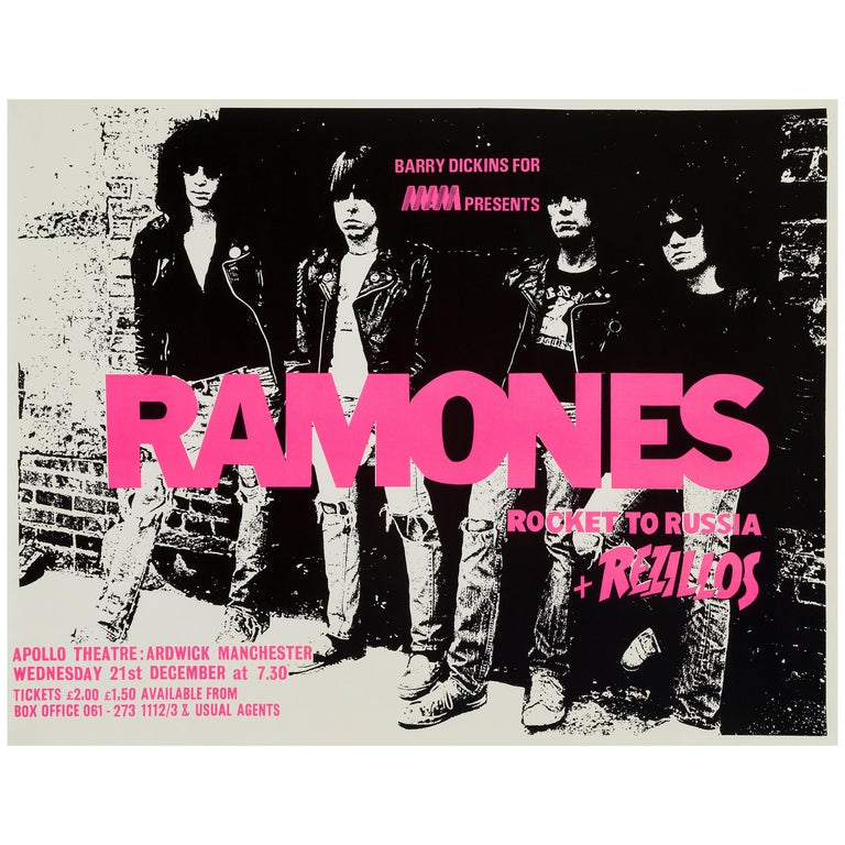 The Ramones Original Vintage Concert Poster, British, 1977 For Sale