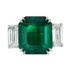 The Rare and Unique No Oil Zambian Emerald and Diamond Ring