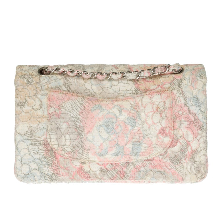 VERY RARE & COVETED!  Timeless bag out of Tweed Camellia pink, grey and ivory partially quilted , silver metal hardware, silver metal handle intertwined with pink tweed, grey and ivory allowing a hand or shoulder. Padded flap closure, silver metal