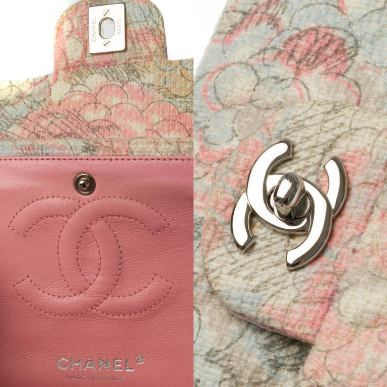 Women's The Rare Chanel Timeless Camelia Medium Shoulder bag in  multicolor Tweed, SHW For Sale