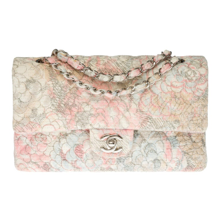 The Rare Chanel Timeless Camelia Medium Shoulder bag in  multicolor Tweed, SHW For Sale