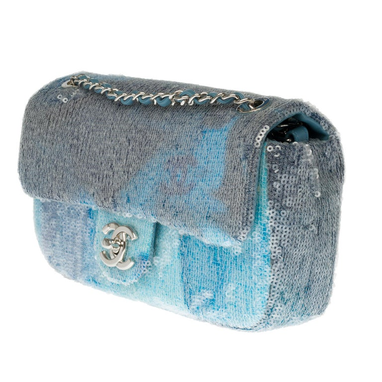 Blue The Rare Chanel Timeless  Runaway Waterfalls Shoulder bag in blue sequins , SHW For Sale