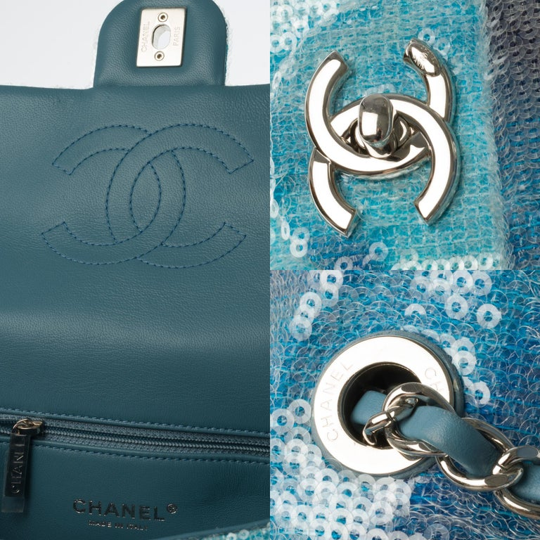 Women's The Rare Chanel Timeless  Runaway Waterfalls Shoulder bag in blue sequins , SHW For Sale