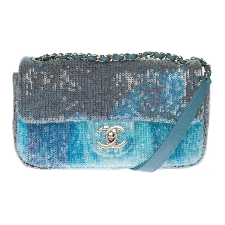 The Rare Chanel Timeless  Runaway Waterfalls Shoulder bag in blue sequins , SHW For Sale
