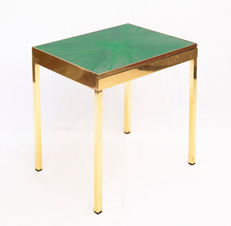 Each table is a unique piece with a hand painted top by Allegra Hicks. Drawer dimension: W 44.7 x D 37cm x H 4cm.