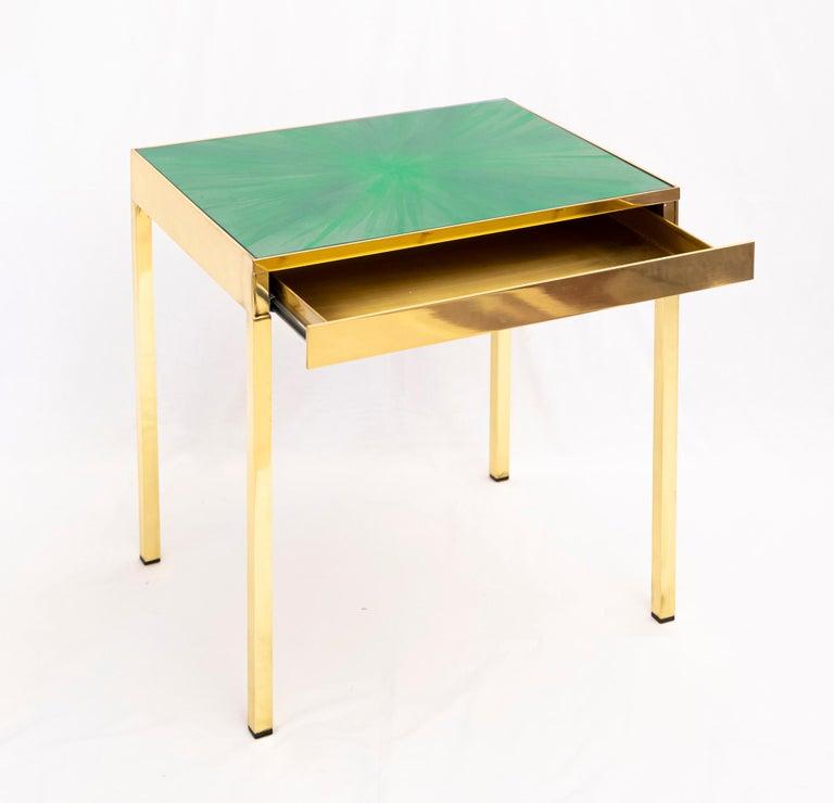 Italian Rays III Green Brass Bedside Table by Allegra Hicks For Sale