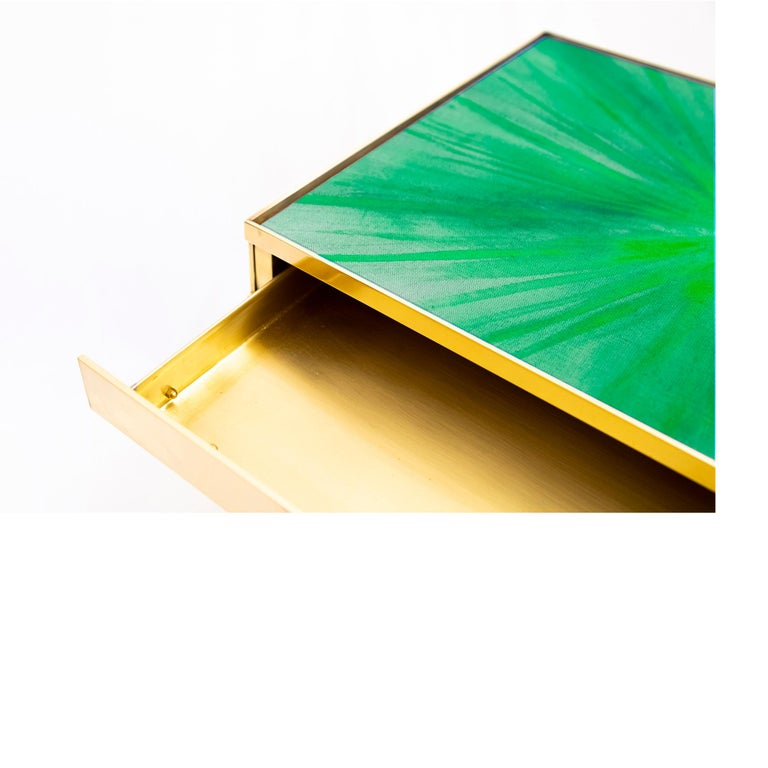 Brushed Rays III Green Brass Bedside Table by Allegra Hicks For Sale