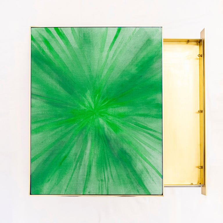 Rays III Green Brass Bedside Table by Allegra Hicks In New Condition For Sale In London, GB