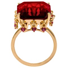 AMMANII Red Crown Vermeil Gold Ring with Charms