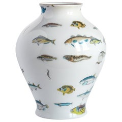 Reef, Contemporary Porcelain Vase with Decorative Design by Vito Nesta