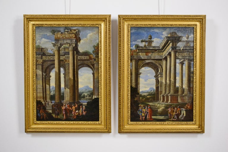 Alberto Carlieri (Rome 1672-1720)  The repentance and sacrifice of King David  Oil on canvas, Measurements: with frame H 87 x W 64 cm - only square H 70 x L 47 cm  Good storage conditions  The pair of paintings depicts two architectural whims with