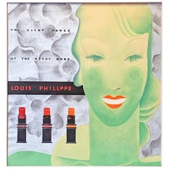 """The Right Rouge,"" Original Art Deco Painting for Lipsticks by Louis Philippe"