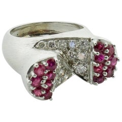 """""""The Ring of The Future"""" circa 1940s Ruby and Diamond Ring in White Gold"""