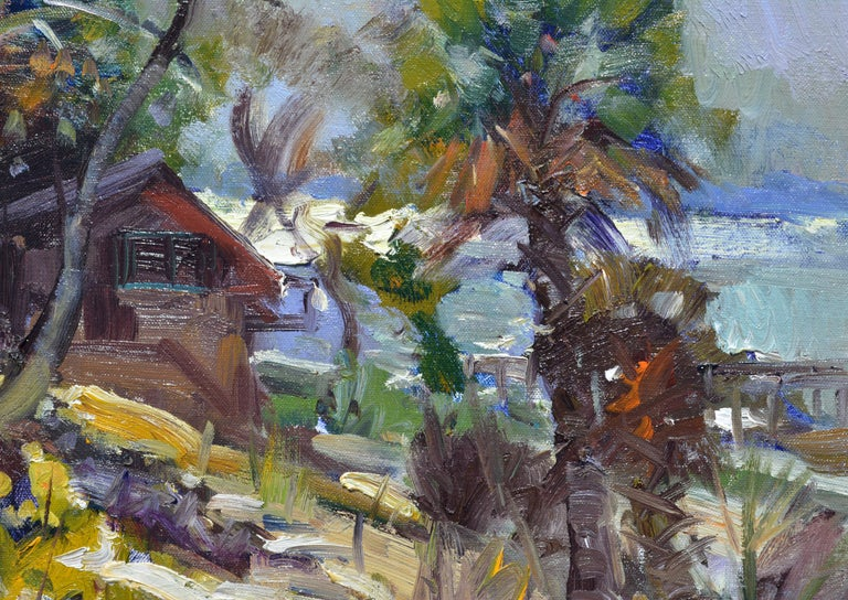 Modern 'The River House' Impressionist Style Florida Oil Painting by Robert C. Gruppe For Sale