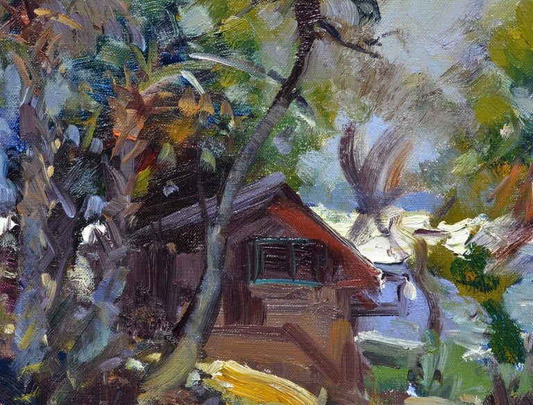 Gilt 'The River House' Impressionist Style Florida Oil Painting by Robert C. Gruppe For Sale