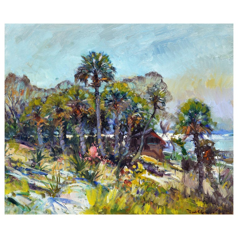 'The River House' Impressionist Style Florida Oil Painting by Robert C. Gruppe For Sale