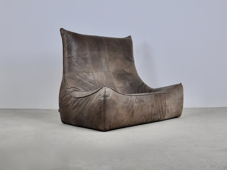 Mid-Century Modern Rock Leather Sofa by Gerard Van Den Berg for Montis, 1970s For Sale