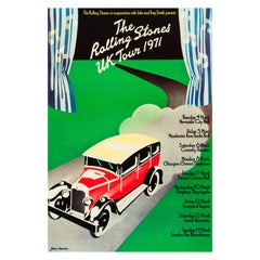 The Rolling Stones Original Vintage UK Tour Poster by John Pasche, 1971