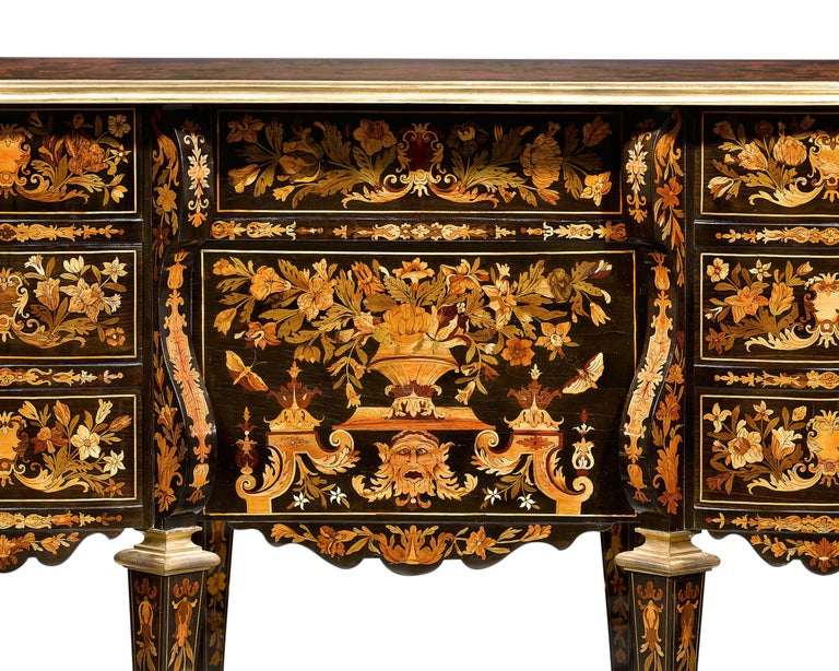 Marquetry Rothschild Desk Attributed to Pierre Golle For Sale