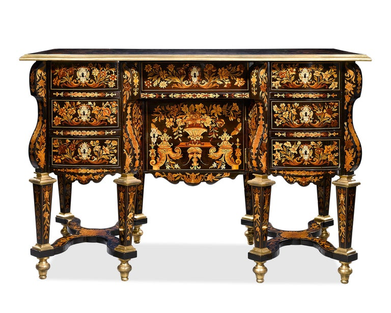 Wood Rothschild Desk Attributed to Pierre Golle For Sale