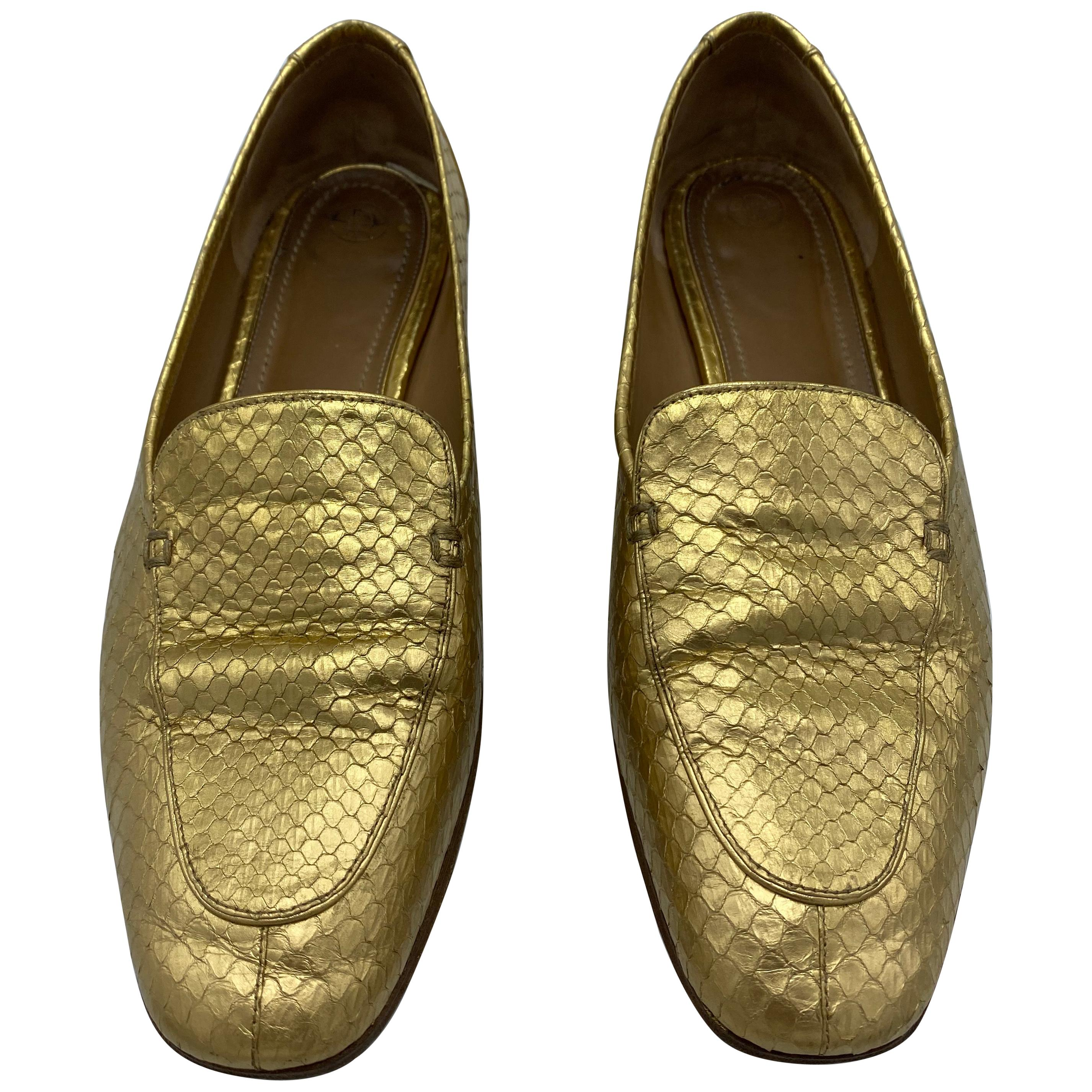 The Row Adam Mocassin Gold Watersnake Flat Shoes Size 39