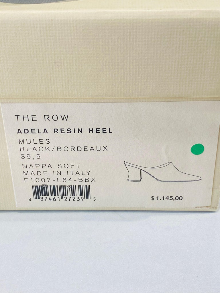 THE ROW Angela Resin Heel Mules Black/ Bordeaux Shoes Size 39.5 For Sale 8