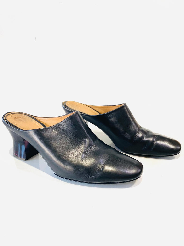Women's THE ROW Angela Resin Heel Mules Black/ Bordeaux Shoes Size 39.5 For Sale