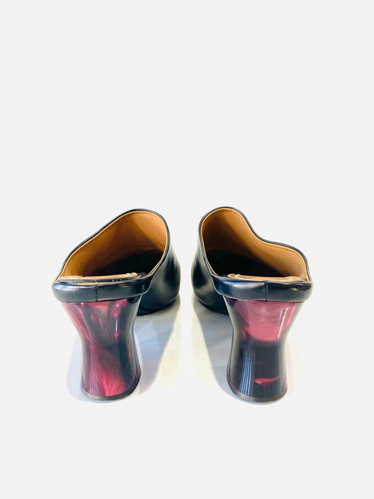 THE ROW Angela Resin Heel Mules Black/ Bordeaux Shoes Size 39.5 For Sale 1