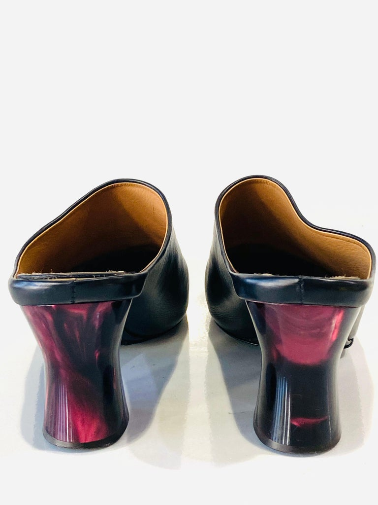 THE ROW Angela Resin Heel Mules Black/ Bordeaux Shoes Size 39.5 For Sale 3
